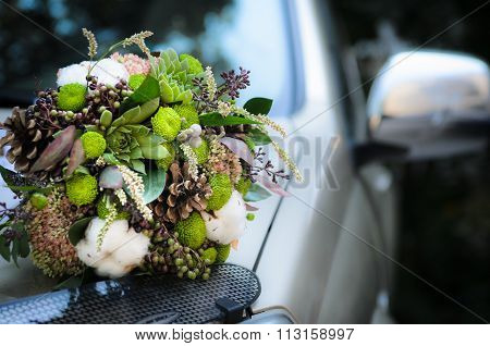 The Bride's Bouquet From Cones And Cotton