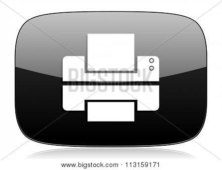 printer black glossy web modern icon
