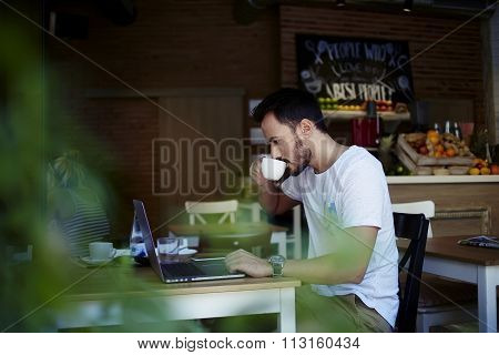 Bearded man programmer enjoying coffee while creates project on laptop computer