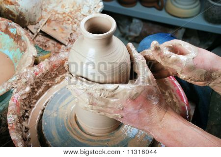 Ceramic Bottle On A Potter's Wheel