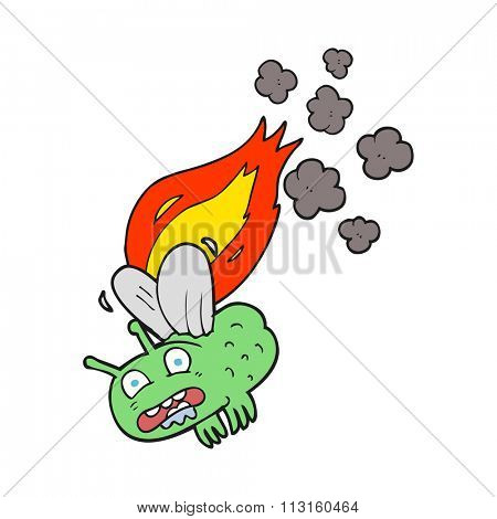 freehand drawn cartoon fly crashing and burning
