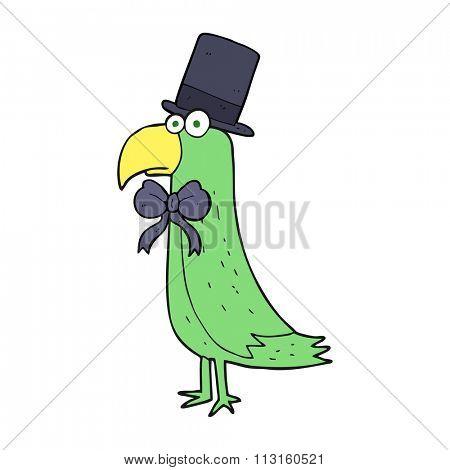 freehand drawn cartoon posh parrot