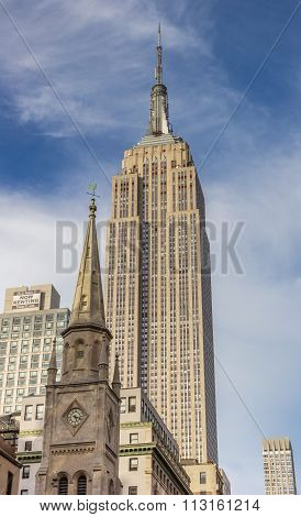 Empire State Building And Marble Collegiate Church In New York City