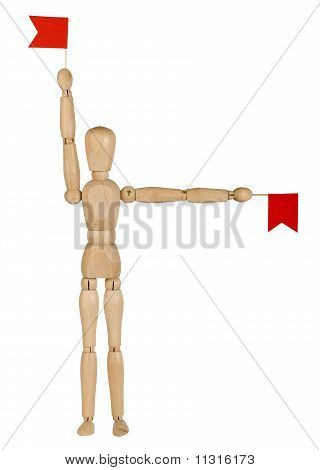 Wooden Toy Man With Red Flags