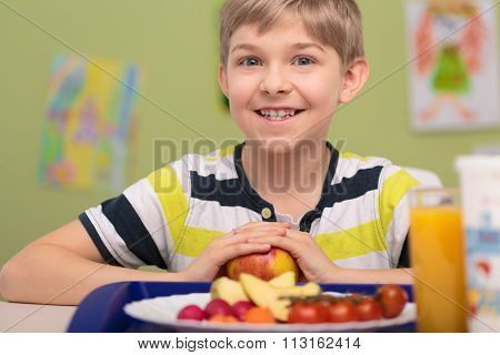 Boy And Plate Of Food