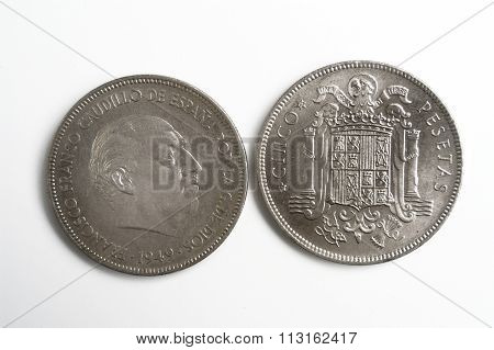 Spanish Currency, Francisco Franco, Cinco Pesetas 1949
