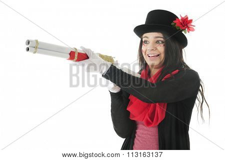 A pretty teen, her face adorned with rhinestones and sparkly hearts, delightedly aiming a red, white and gold rifle to snag her prey.  On a white background.
