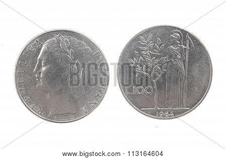 100 Lira, 1964 Italian Currency