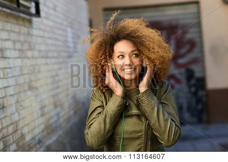 Young Attractive Black Girl In Urban Background