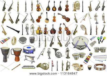 The image of different music instruments