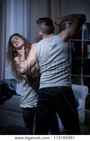 Choking Defenseless Woman