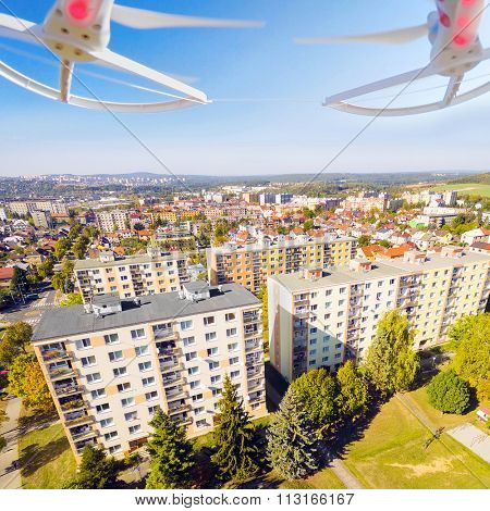 Drone spying over your home. Digital artwork with fictional vehicle on UAV theme.
