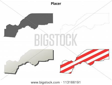 Placer County, California outline map set