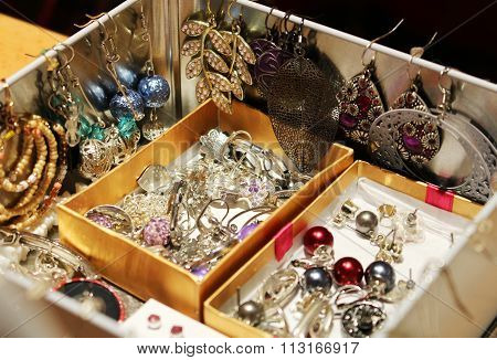 Box Full Of Women's Jewelry And Earrings