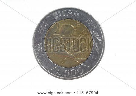 500 Lira ,italian Coin , 1998