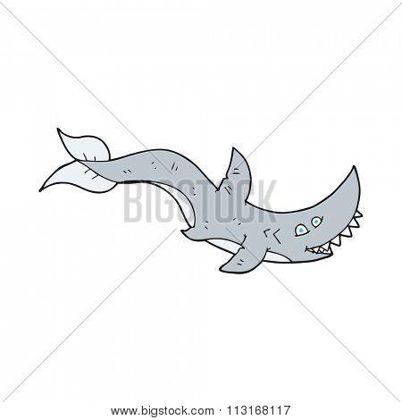 freehand drawn cartoon shark