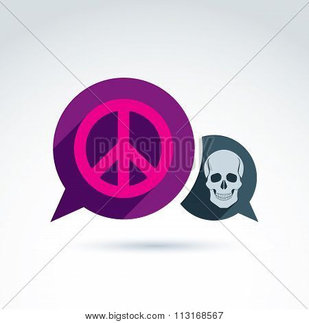 Peace Against War Icon With Death Skull, Vector Conceptual Unusual Symbol For Your Design.