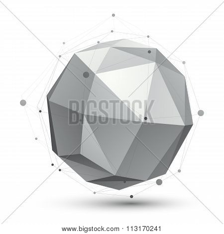 Geometric Vector Abstract 3D Complicated Spherical Lattice Object, Single Color Eps8 Conceptual Elem