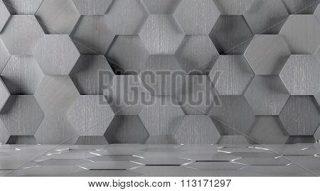 Hexagonal Tiled Metal Room Background