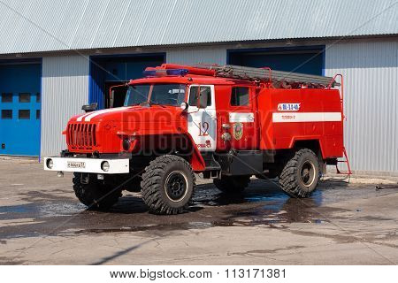 MURMANSK, Russian federation - May 30 2010: Fire engine stands in the garage fire station, Murmansk