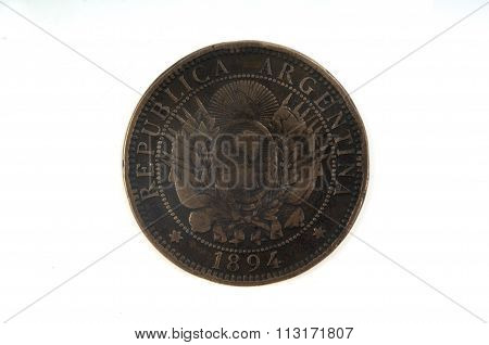 Two centavos 1894 coin of Argentina