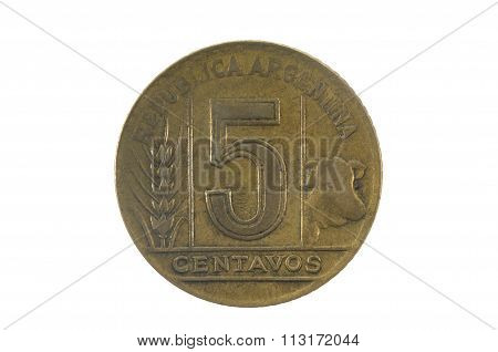 Five Centavos 1945, Olf Coin Of Argentina