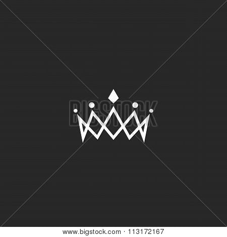 Royal Crown Logo Mockup Monogram, Jewel Tiara Princess Beauty Symbol, Thin Line Design Element