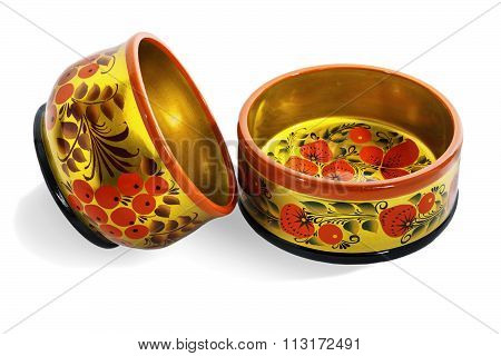 Two wooden  bowls, painted in the style of Khokhloma