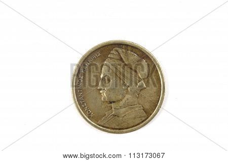 Greek Coin Isolated On White