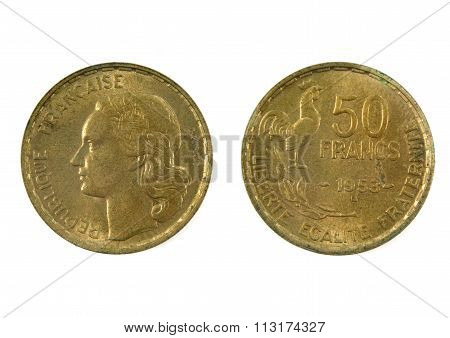 French Currency Of The Twentieth Century 50 Franc's 1953
