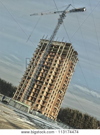 The Construction Of High-rise Home In Winter In Hdr Effect