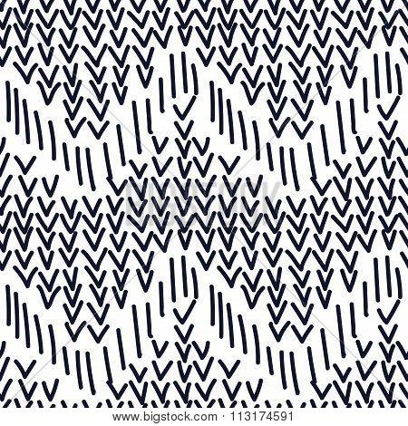 Hand drawn seamless indigo and white checkmark texture