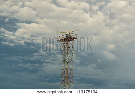 LABUAN FT, MALAYSIA - DEC 26, 2015 : Radar and Other Communication Equipment Tower at Labuan Port.