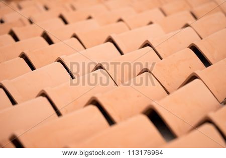 Close up of brown roof tiles