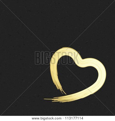 Hand drawn golden shiny heart shape Valentine's day Greeting Card vector background. Good for Valentines day invitation, Valentine card, Valentines day background.
