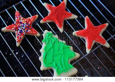 Red and green star and tree Christmas cookies