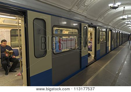 Subway Train Standing At The Station