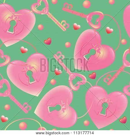 Vector seamless pattern with  key and heart keyhole. Romantic cr