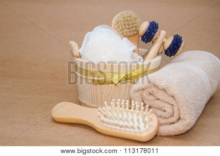 Massage In Steam Bath Room, Sauna And Accessories Set