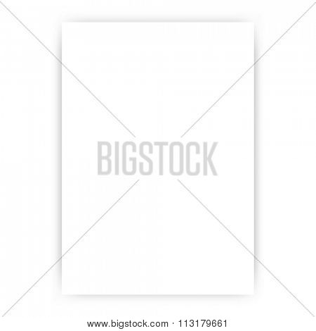 Blank A4 White Paper Template with Shadow - Vector Illustration