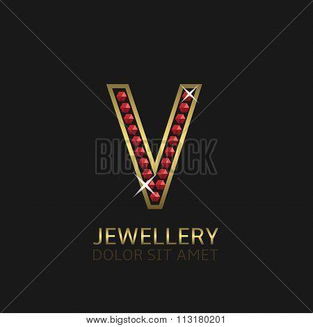 Golden Letter V
