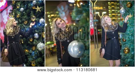 Young beautiful woman with long fair hair outdoor in a cold winter evening. Blonde girl