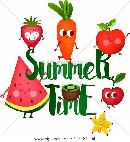 A set of cute fruit. Illustration with funny characters.  Funny food. vegetables cute. Tomato, radis