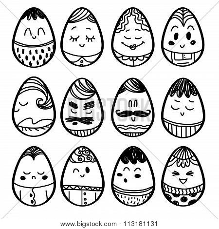 Set of smiley icons of eggs: different emotions. Hand draw cartoon on paper note stickers. Pencil st