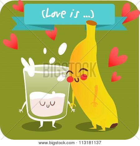 Postcard Valentine's Day. Glass of milk with banana. Comic food. Illustration with funny characters.