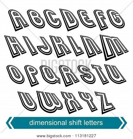 Dimensional Move Font, Vector Line Retro Style Geometric Font.