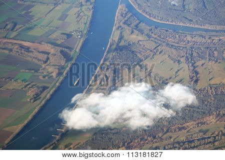 Aerial View Rhine with inflow