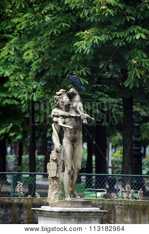 statue in Tuileries garden,Paris,France.