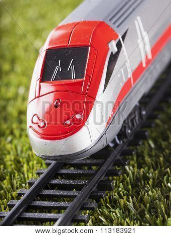 Toy Train Over Railway