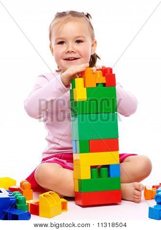 Little Girl With Building Bricks